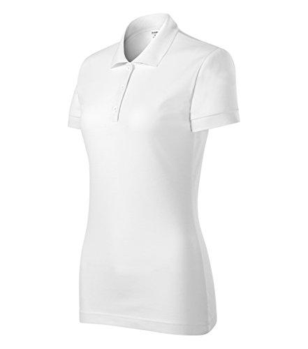 Damen Polohemd PoloShirt Kurzarm Langer Schnitt (Large, weiss)