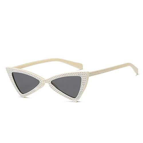 MJDABAOFA Sonnenbrillen,Mode Weißen Rahmen Graue Linse Klein Cat Eye Sonnenbrille Frauen Crystal Dreieck Sonnenbrille Vintage Butterfly Sunglass Schattierungen Brillen