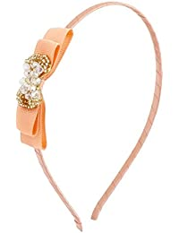 Uxcell Women Plastic Crystal Bowknot Ornament Hairband Hair Hoop, Pink, 0.04 Pound