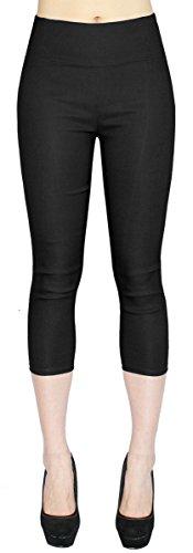 High Waist Damen Capri Hose 7/8 Skinny Pants/Slim Fit - Figurformend - viele Farben - CLG077 (40/L, CLG077-Schwarz) -