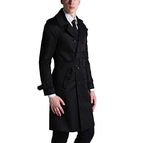 MERRYHE Männer Mode Revers Trenchcoats Business Lange Jacke Slim Fit Mantel Herbst Topcoat Oberbekleidung Mit Gürtel,Black-M(Bust/104cm)