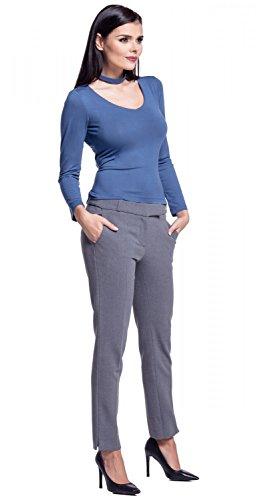 Zeta Ville - Damen Top Empire-Taille langen Ärmeln Kropfband V-Ausschnitt - 339z Blau Jeans