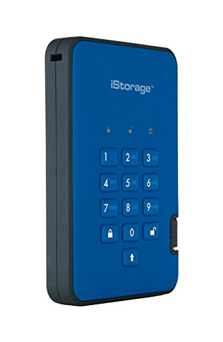 iStorage IS-DA2-256-500-BE 500GB diskAshur2 USB 3.1 Portable Encrypted Hard Drive - Ocean Blue
