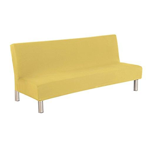 sofá sin brazo futon cubierta sofá liso slipcover sofá cama protector de la cubierta elástico spandex moderno sofá plegable simple sofá shield por yunhigh - amarillo