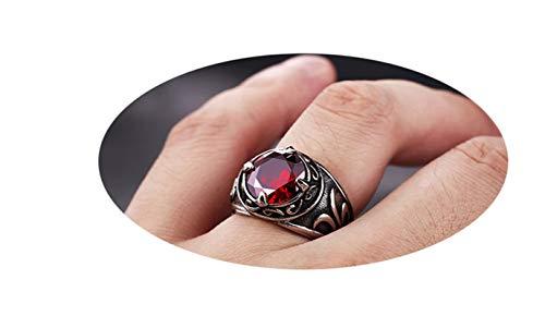 KnBoB Edelstahl Herren Ring Rund Rot Zirkonia Stein Silber Männer Ring Silber Partnerringe Größe 62 (19.7) - Frosted Bad Set