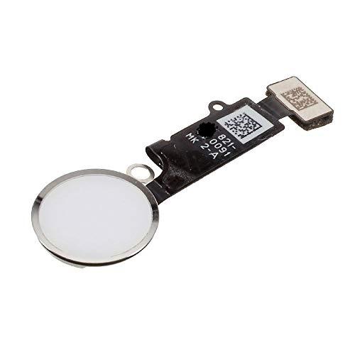 Home Button für iPhone 6S / 6S Plus iPhone 7 iPhone 8 Weiß Schwarz Homebutton mit flexkabel Taste inkl. Metal Bracket Gummi Halterung (Weiß, iPhone 7)