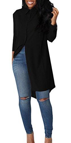 Camicia Donna Elegante Chiffon Manica Lunga Risvolto Single Breasted Sciolto Semplice Tinta Unita Vintage Cerimonia Fashion Hippie Casual Autunno Lunghi Camicetta Camicie Blusa Top Nero