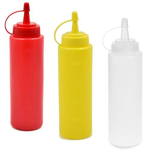 cococity Squeeze Würze Flaschen mit Düsen Top Dispenser Für Zuhause Restaurant Ketchup Senf Mayo Dressings Olivenöl-Salat 3pcs - Ketchup Squeeze Dispenser