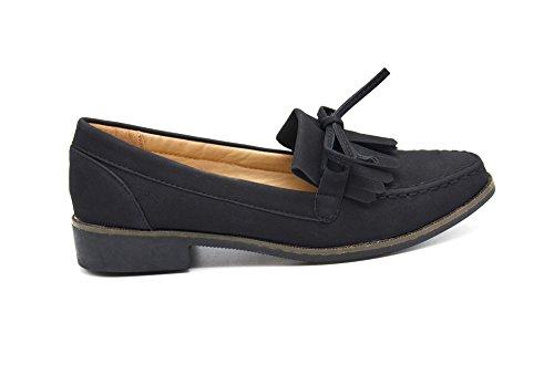SHP110 * Mocassins Slippers Effet Daim Noir avec Rabat Franges, Noeud et Petit Talon Noir