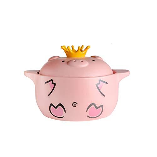 Zarlua Nettes Schwein-keramische Kasserolleintopf-Eintopf-Eintopf-Suppe-Haushaltsgas gedünstetes Hühner-Ton-Topf-Auflauf (größe : 4L)