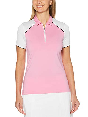 Callaway Damen Golf Poloshirt 1/4 Zip Color Block Polo Pink XXL -