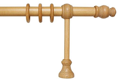 iso-design Gardinenstange aus Holz mit 28 mm Durchmesser in Eiche hell, viele Größen, 140 cm