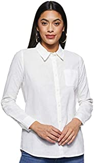 Giordano Women's 05347238 Women Linen Cotton Long Sleeve S