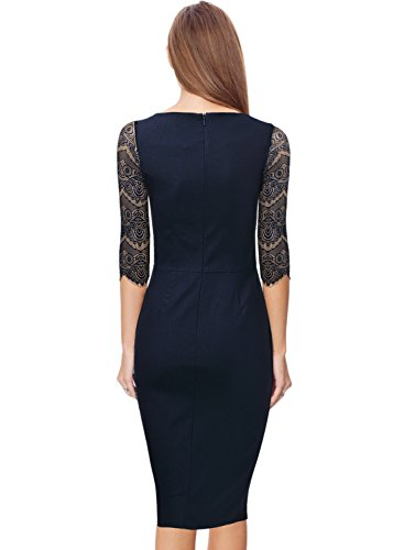 MIUSOL Damen 1/2 Arm Knielang Kleid Spitzen Cocktail Etuikleid Abendkleid Navy Blau Gr.XL -