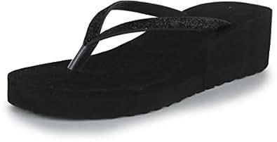 STEPUPP Women's Black Foam Heel Slipper -3