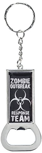 Grafiken und mehr Ring Bottlecap Öffner Schlüssel Kette, Zombie Outbreak Response Team weiß distressed (KK1290)