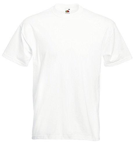 T-Shirt Super Premium von Fruit of the Loom S M L XL XXL 3XL verschiedene Farben L,Weiß L,Weiss