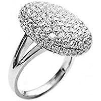 Anello anello di gioielli placcato platino con Cristalli Zircon Cubic AAA + transparantes di alta qualità, Dimensione # 8/0.5p - Anello Dart