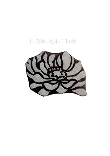 Fancy Handicraft Wooden Printing Stamps and Blocks for Textile Print,Butique Print,Saree Salwar Suit Dupatta Border Making,Heena Print,Scrapbook Printing (5 * 4 inch Approx) (PBS1141)