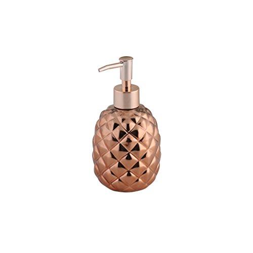 axentia Seifenspender Copper kupferfarben, leicht nachfüllbarer Flüssigseifen-Spender aus Keramik mit verchromter Dosierpumpe, Seifenbehälter mit ca. 330 ml Fassungsvermögen