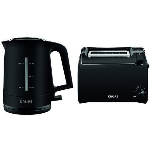 Krups BW2448 Wasserkocher Pro Aroma, 1,6 L, 2,400 W mit beleuchtetem Ein-/Ausschalter, schwarz & Krups KH1518 Toaster Aroma, 2 Scheiben, 700 W, Brötchenaufsatz, schwarz