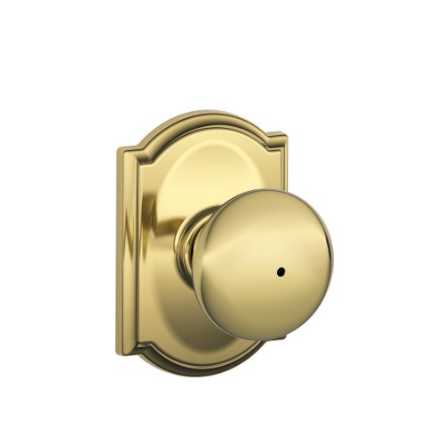 Schlage F40 PLY 605 CAM Camelot Collection Plymouth Privacy Knob, Bright Brass by Schlage Lock Company (F40 Cam Ply)