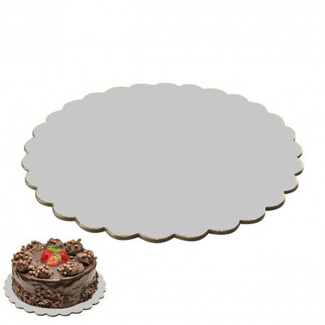Lot de 10. Cake Board Cake Drum ondulé Revêtement Plateau à gâteau Cake Board Plaque à gâteau Ø 35 cm Fondant Argent