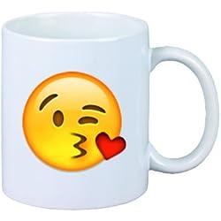 """Taza """"cara envía un beso"""" de cerámica, Smiley, Emoji, decoración, culto, Taza de café Taza de té, iPhone, emoticonos."""