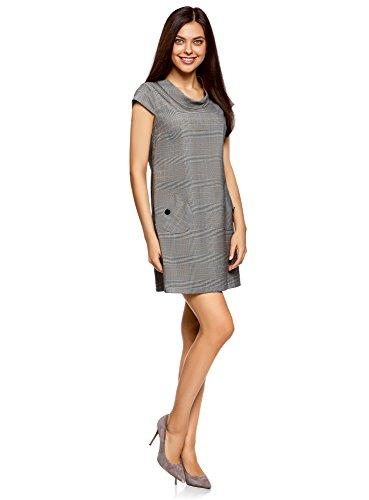 oodji Ultra Damen Gerade Geschnittenes Kleid mit Seitentaschen Grau (2912O)