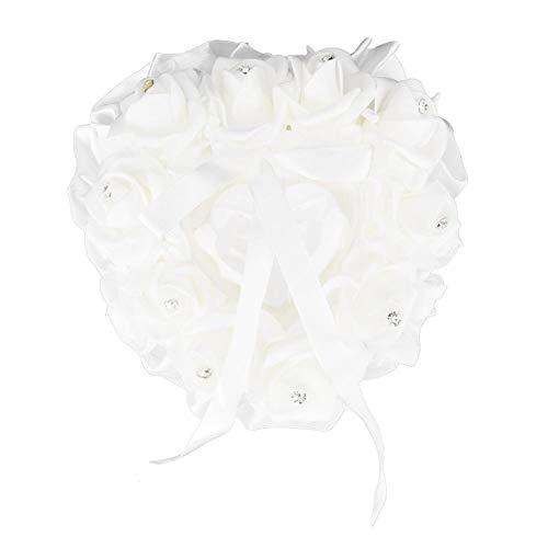 Duokon Hochzeit Ringkissen Zeremonie herzförmige Ring Bearer Kissen Hochzeiten Ring Box Halter romantische Hochzeit Zubehör - weiß