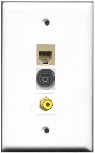 RiteAV RJ11, RJ12, beige und 1Port Toslink Wall Plate-1Port Cinch gelb + 1Ports -