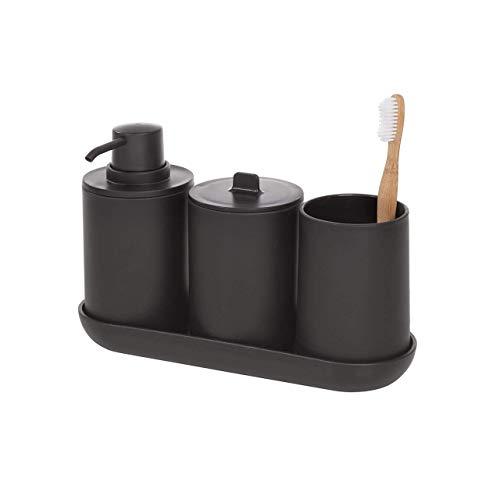 iDesign Badezimmer Set, vierteilige Badgarnitur mit Seifenspender, Zahnbürstenhalter, Wattepadspender und Tablett aus Kunststoff, Badaccessoires für den Waschtisch, schwarz