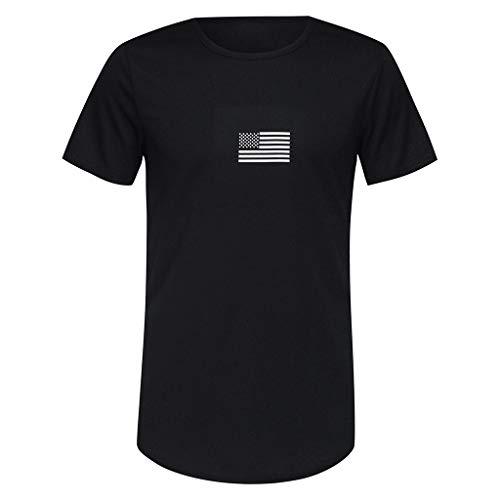 Gym Fitness T-Shirt für Herren - Skxinn Männer Flag Drucken Sport Bekleidung - Geeignet Für Workout, Training - Slim Fit,Kurzarm,Rundkragen S-XXL Ausverkauf(Schwarz,Medium)