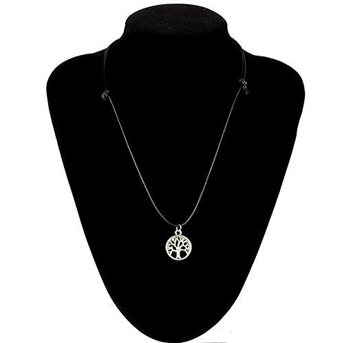Amonfineshop New Tree of Life-Charme-Anhänger-Halsschmuck mit schwarzer Schnur Halskette - 5