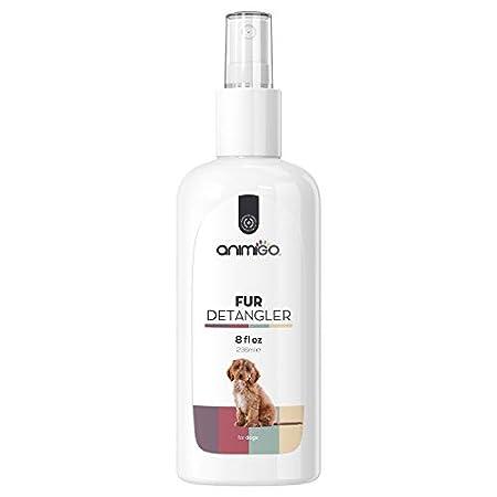 Animigo Fell Entwirrer Spray für Hunde – Fell Entfilzung, Kämmhilfe für den Hund, Entfilzungsspray Hunde, Hundefell Mittel für Langhaar und Kurzhaar, Fellpflege, Entfilzer – 236ml Coat Pflege Spray