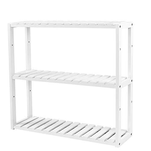 SONGMICS höhenverstellbar Bambus Regal, 3-stöckiges Badregal Wandregal Standregal, Küchenregal Bücherregal, Weiß, 60 x 15 x 54 cm BCB13W