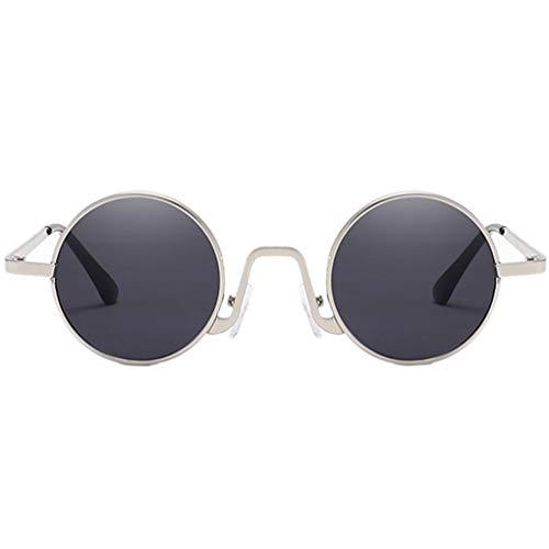 Plzlm Anti-UV-Sonnenbrillen Metallrahmen Retro runde Brillen Unisex PC Taukappen Sun Glasses