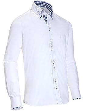 Almsach Herren Slim Fit Trachtenhemd LF508 weiß-jeans