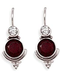 Silverwala 925 Sterling Silver Garnet Pearl Topaz And Cubiczirconia Stone Earrings For Women and Girls
