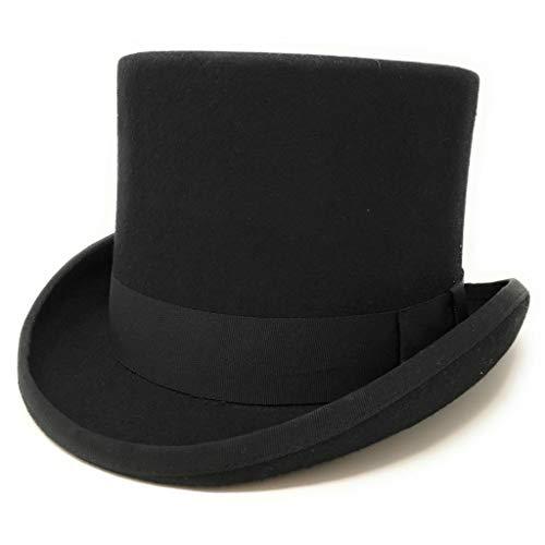 Cotswold Country Hats Schwarze Wolle Filz hoch Zylinder, mittelgroß, groß, XL, XXL, 57cm, 59cm, 61cm, 63cm (Extra Large 61cm)