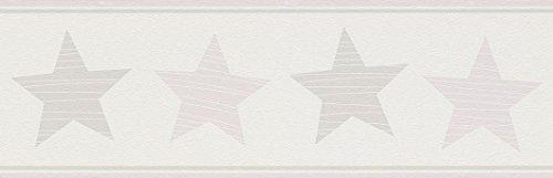 Rasch Bordüre 5 x 0,17 m - Ansatzfrei - Feine Struktur - Stil: Kinder Geometrisch - z.B. Kinderzimmer - Farbe: Rosa Weiß Grau