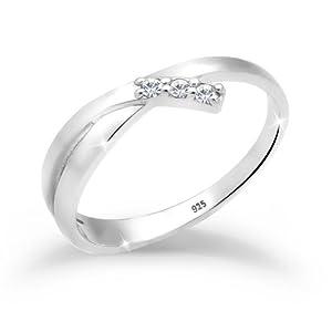 Elli Ring Damen Verlobung mit Swarovski® Kristalle in 925 Sterling Silber