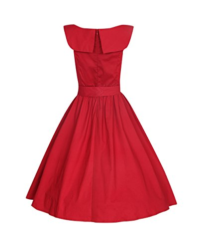 ROBLORA Robe de Soiree cocktail, Bal Style Années 50, Rockabilly, Swing,Vintage 1950's Audrey Hepburn AN5002 Bordeaux