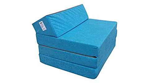 Fold Out Guest Chair Z Bed Futon Sofa for Adult and Kids folding mattress (Blue)
