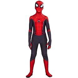 helymore Ninos Halloween Mono de Superheroe de Cosplay de Pelicula Jumpsuit Ajustado con Estampado de Arana con Mascara, Altura Adecuada 130cm-140cm