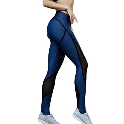 XZDCDJ Lange Yogahose Damen High Waist Skinny Hose Ladies Stitching Hollow Tight Hip Lifting Übung Laufen Yoga Hosen(Blau,L) - Antwort Capri Tight