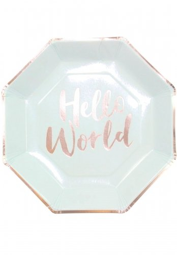 Hello World - Mint & Rose Gold Paper Plates