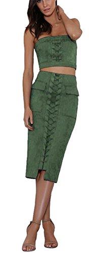 Ghope Femme Jupe en Daim Taille Haute Jupe Sexy Robe Jupe Crayon Mini Sexy Tenue Deux Pi¨¨ces Bandage Moulante Hauts Vert