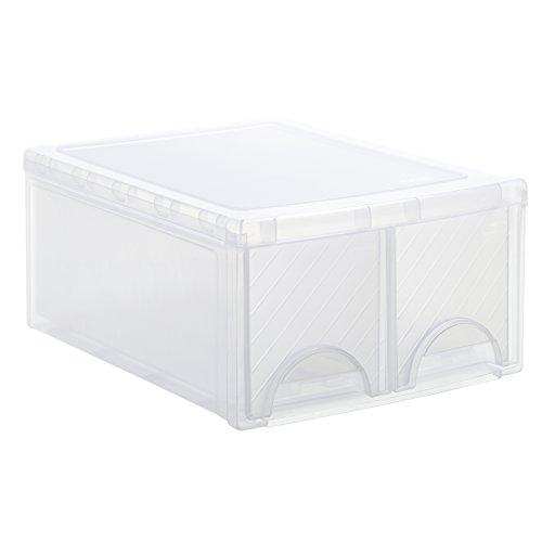 Rotho Frontbox Schubladenbox mit 2 Schubladen, Kunststoff (PP), transparent, (44,5 x 34,5 x 20 cm)