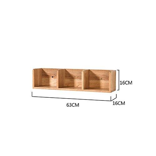 Étagères murales en bois massif chambre TV murale salon coin coin coin coin chêne moderne simple (taille : 63*16*16cm)